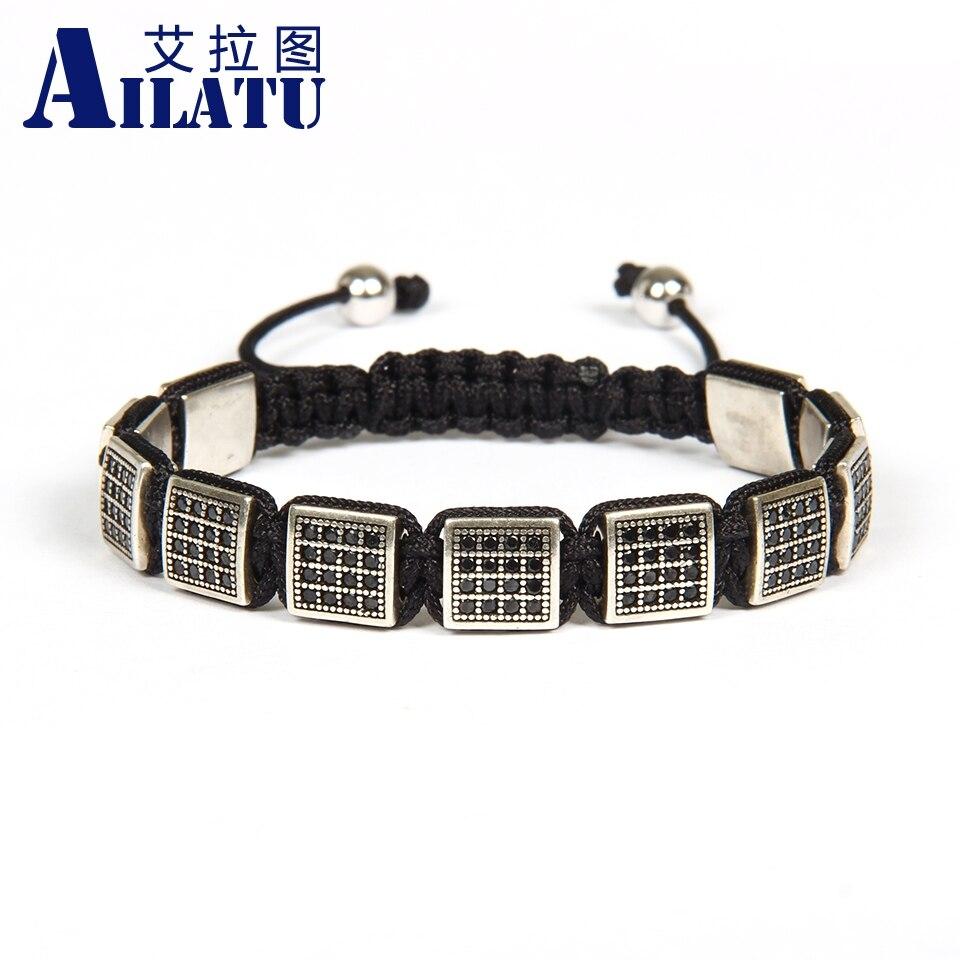Ailatu Mens Jewelry Wholesale 10pcs lot Antique Gold and Silver Micro Pave Black Cz Flatbed Macrame