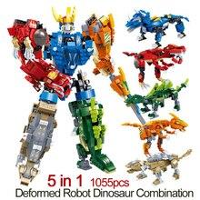 DOLLRYGA 1055pcs DIY Robot Deformation Figures Building Blocks  knutselen kinderen Toy for Children Block jouet enfant