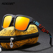 KDEAM Red Hot Mirror Sunglasses Polarized Unisex Size Living Sport Sun Glasses Men Women Fresh Shades With Peanut Case(China)