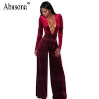 Abasona Velvet Jumpsuits Women Long Sleeve Overalls Sexy Deep v Neck Rompers Womens Jumpsuit Party Club Female Wide Leg Pants