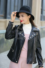 2017 New Rivets Decoration Womens Genuine Leather Jackets Ladies Sheep Leather Black Streetwear Turn down Collar