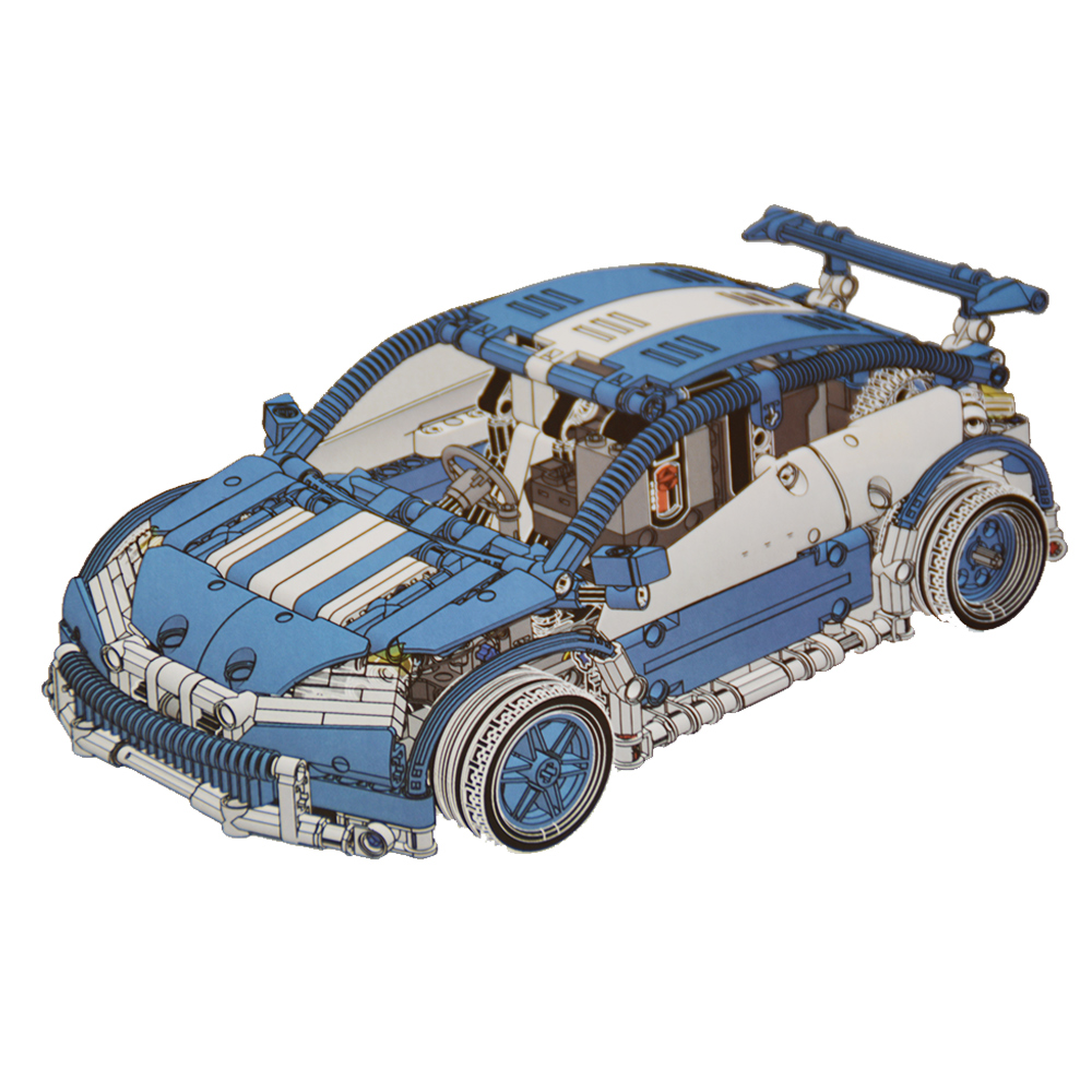 20053B 640pcs Blue Technic Series Hatchback Type Remote Control RC Car MOC-6604 Building Block diy Brick Toy for Boys technican technic 2 4ghz radio remote control flatbed trailer moc building block truck model brick educational rc toy with light