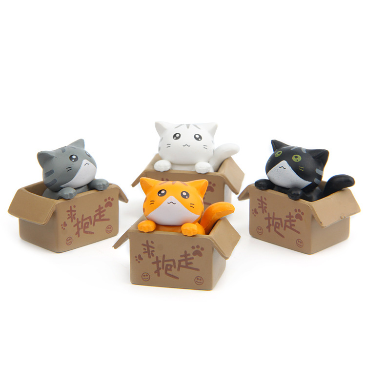 4 Pcs/lot Hot Sale Action Figures Toys Dolls Angry Cat Animals Cartoon Toys Models Desk Toys Christmas Toys For Children Dolls