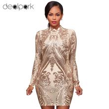 Sexy Women Sparkling Sequin Dress Slim Flower Long Sleeves Mini Bodycon  Dress Nightwear Elegant Evening Party d865d8326e8c