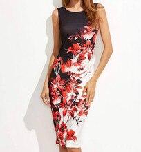 S-5XL Plus Size Dress Women Elegant Print Stretch Midi Pencil Sheath Dress Fashion Sleeveless Red Flower Printed Dresses Vestido plus size flower sleeveless dress