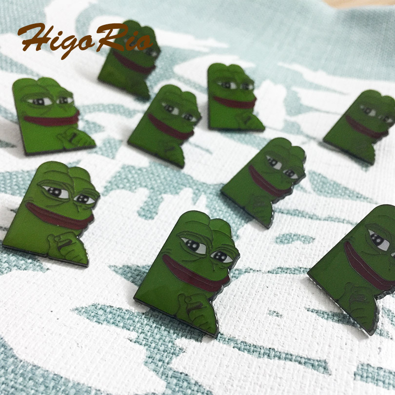 10pcs 1'' Sad Dank Collector Green Enamel Pins Badges Metal Craft Popular <font><b>Meme</b></font> Smug Frog Lapel Pin Brooch Butterfly Clutch image