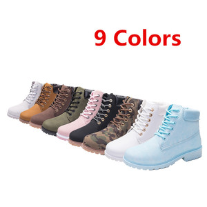 Image 5 - Misalwa Mens Leather Work Boots Black Brown White Camel Male Snow Ankle Unisex Couples Drop shipping Winter Lace up Boots Shoes
