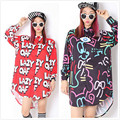 Women LAZY OAF Letter Harajuku Black Red Cartoon Graffiti Graphic Pattern Print Long Sleeve Top Shirt Mini Dress Chiffon Blouse