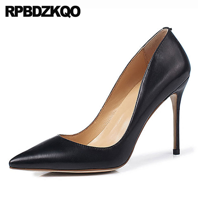 genuine leather ultra super size 33 high heels pointed toe stiletto pumps handmade extreme green shoes for women 4 34 blackgenuine leather ultra super size 33 high heels pointed toe stiletto pumps handmade extreme green shoes for women 4 34 black