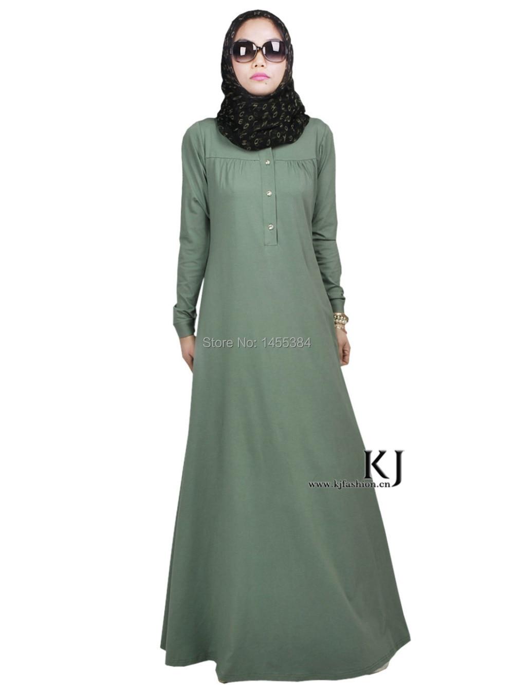 2015 New Abayas Dubai Muslim Hijab Dress 95 Cotton 5 Lycra Fabric Robe Musulmane Plus Size