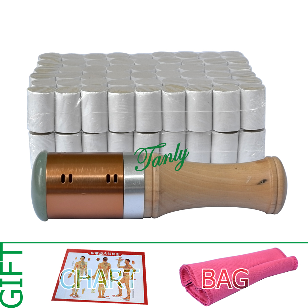 цены Retail moxibustion suit 1pcs new type copper moxa stick + 108pcs 5 years 45:1 little smoke mugwort moxa roll gift bag