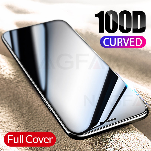 100D Curved Edge Full Cover Protective Glass On The For iPhone 7 8 6 6S Plus Tempered Screen Protector iPhone X XR XS Max Glass 5
