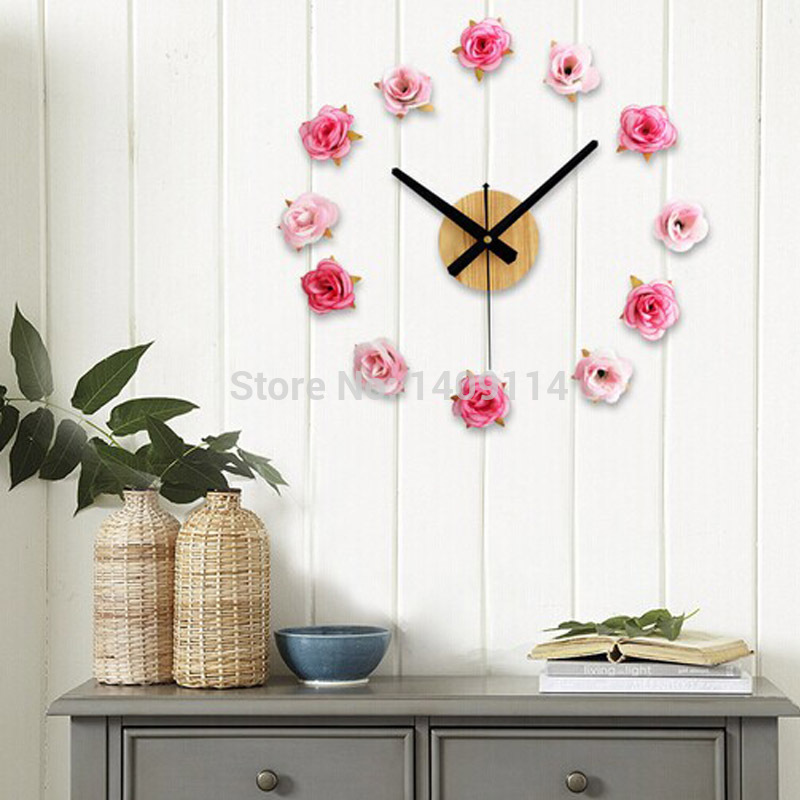 Modern Home Decor Ideas Diy: DIY Clock Wall Rose Room Decor Clock Adhesive Flowers