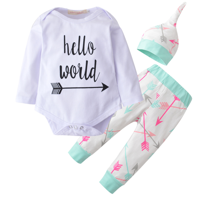 375796dae81d 3 Pcs/Suit Baby Girls Clothing Set Autumn Long Sleeves Letter Hello World ( Rompers+Arrow Pants+Hat) Newborn Baby Boy Clothes