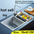 Кухонная мойка  большая прочная 304 нержавеющая сталь  3 мм  ручная работа  двойной короб  Лидер продаж  78x43 см  бесплатная доставка