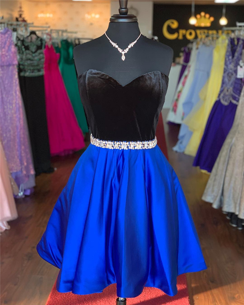 Simple Short Satin Prom Dresses 2019 Black and Blue Two Colors Tone Wedding Party Dress Beaded Sequined Plus Size Robe De Soiree