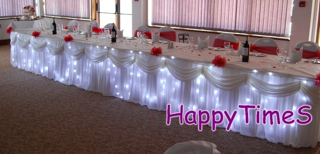 Exceptionnel 26ft X 29u0027u0027 Luxury Wedding Table Decoration Ice Silk Fabric Table Skirt  With LED