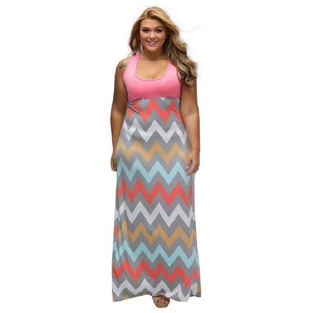 ae203202025 Plus Size Women Summer Sexy Dress Light Blue Wave Striped Multicolor Maxi  Dress Casual Sleeveless Party Loose Dresses