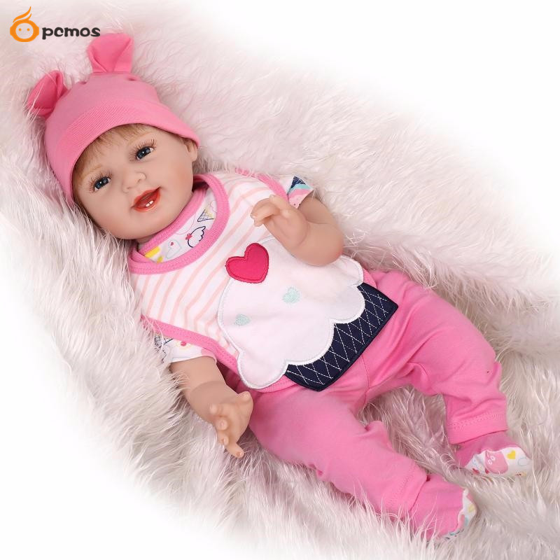 [PCMOS] 22 Lifelike Reborn Smile Blue Eyes Dolls Silicone Vinyl Handmade Baby with Pink Jumpsuit Clothes Toy Doll 16062433 pink wool coat doll clothes with belt for 18 american girl doll