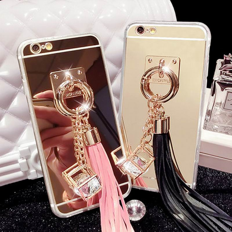 LOVECOM For Iphone 7 7 Plus 5 5S 6 6S 6 Plus 6S Plus Phone Case Mirror Style CZ Diamond Tassels DIY Soft TPU Phone Back Cover
