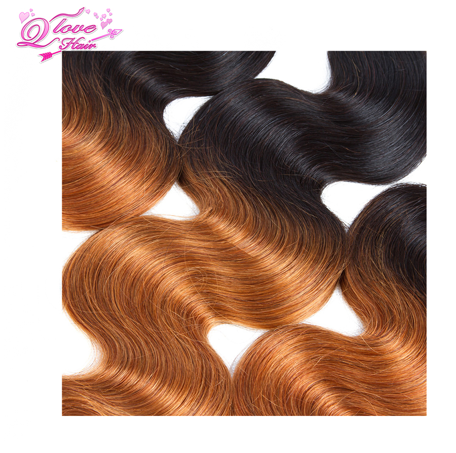 Queen Love Hair Pre-Coloed Non-Remy Body Wave Brazilian Ombre Hair Closure 1B/30 Human Hair 3 Bundles With 4*4 Lace Closure