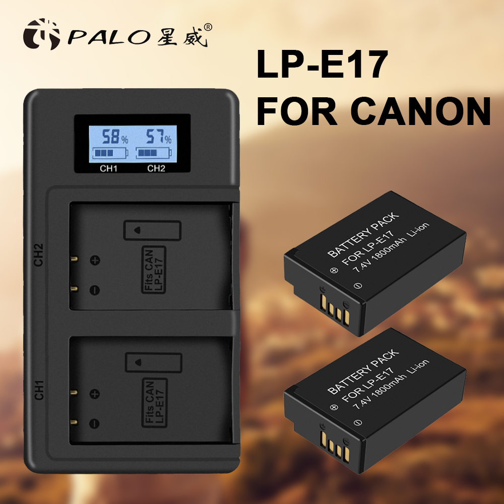 PALO 2Pcs LPE17 LP E17 LP E17 camera Battery+LCD USB Dual Charger for Canon EOS M3 M6 200D 750D 800D 8000D 760D T6i T6s Kiss X8i