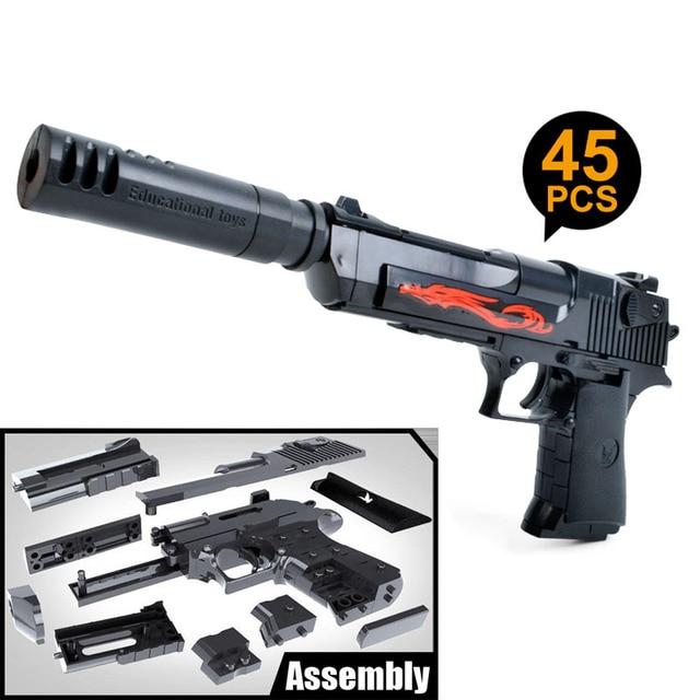 Kitoz Assembly Toy Gun Building Blocks Pistol Rifle DIY 3D Miniature Model Plastic Gift for Boy Kids With Building InstructionOutdoor Fun & Sports
