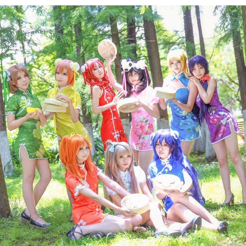 Nozomi Rin Eli Umi Maki Kotori Niko Hanayo Cheongsam Cosplay Costume Love Live