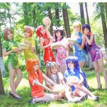 Love Live cos  short Chinese dress cheongsam Honoka Kotori Umi Eli Nozomi Maki Rin Hanayo Nico Cosplay Costume Lovelive qipao A цена