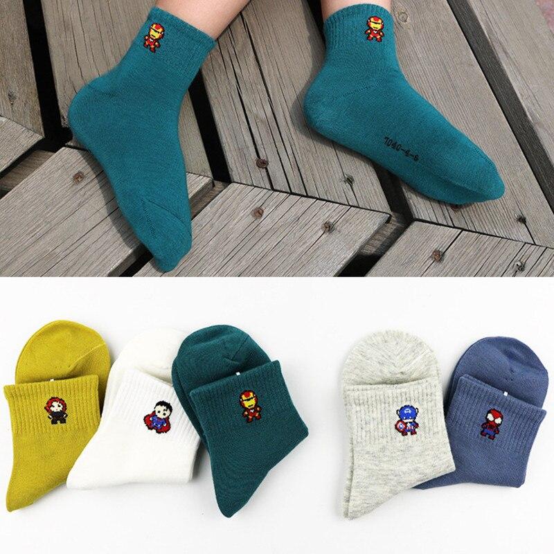 5 Pairs 1-12 Year Children Socks Spring&autumn Cotton Baby Girls Socks With Boys Socks Solid Color Kids Superman Sport Socks