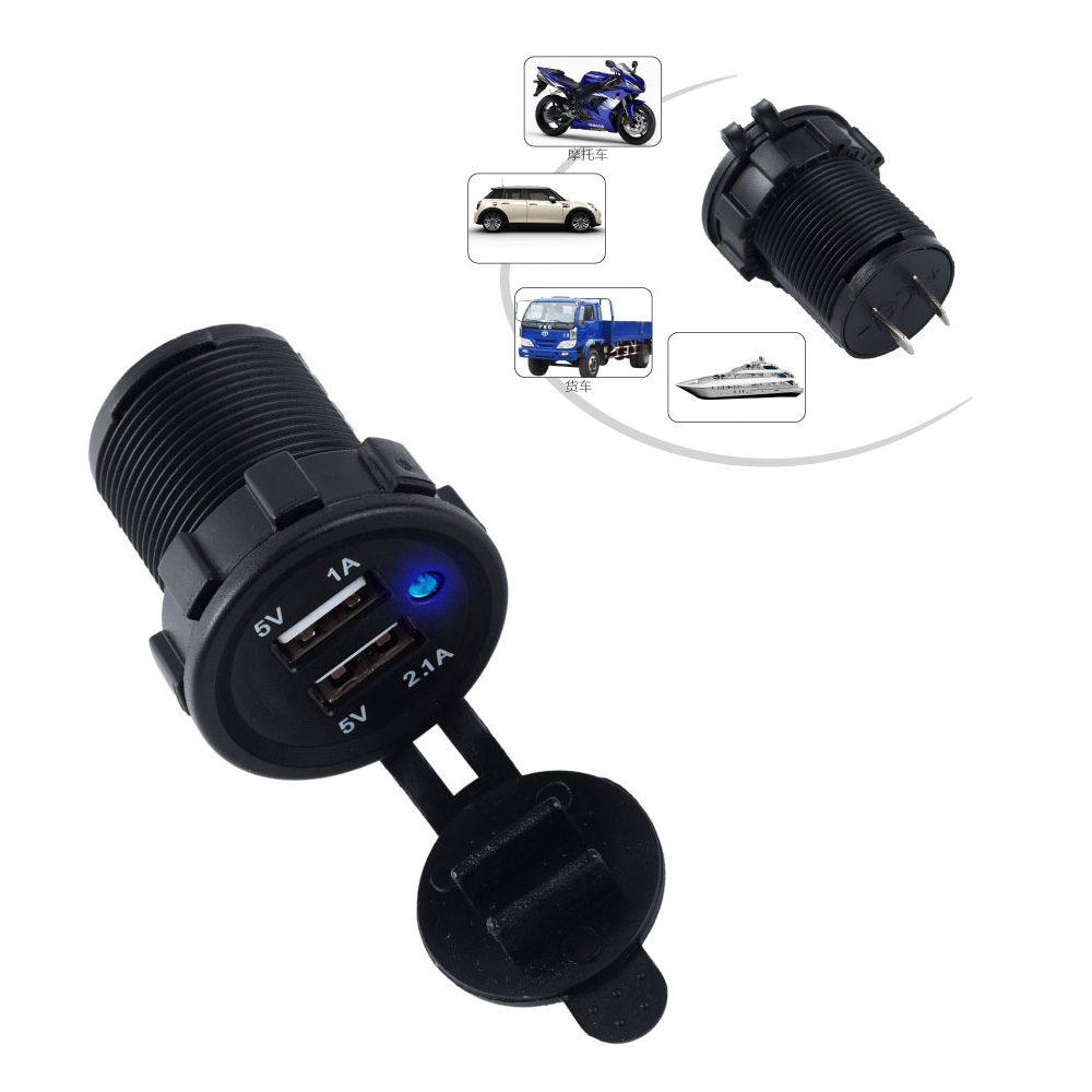 Waterproof Dual USB Boat Motorcycle Car Charger Power Adapter Socket 5V 2 1A 1A For iPhone