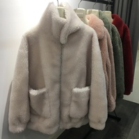 2018 new arrival womens lamb fur coat genuine sheep fur thick jackets zip turn down collar loose big size female russia styles