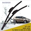 """Wiper blades para bmw x3 (e83) (2003-2010) 22 """"+ 20"""" fit padrão j braços gancho wiper"""