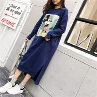 Women Mickey Mouse Print Sweatshirts Long Loose Oversized Hoodie Female Pocket Harajuku Crop Hoodies Sweatshirts Autumn Winter