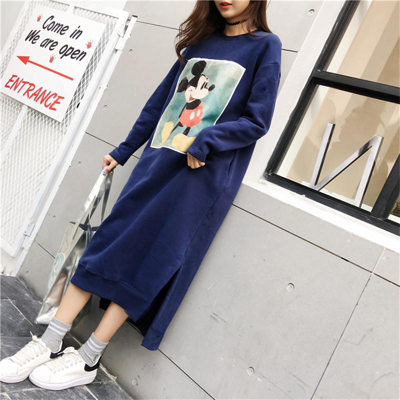 Women Mickey Mouse Print Sweatshirts Long Loose Oversized Hoodie Female Pocket Harajuku Crop Hoodies Sweatshirts Autumn Winter