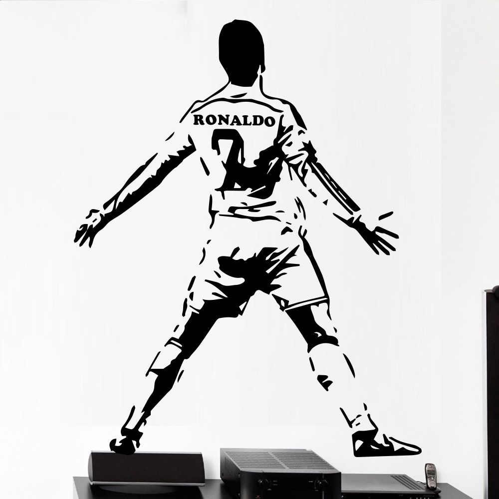 Vinyl decals ronaldo of 7 soccer wall sticker wallpaper murals home decoration for kids rooms diy