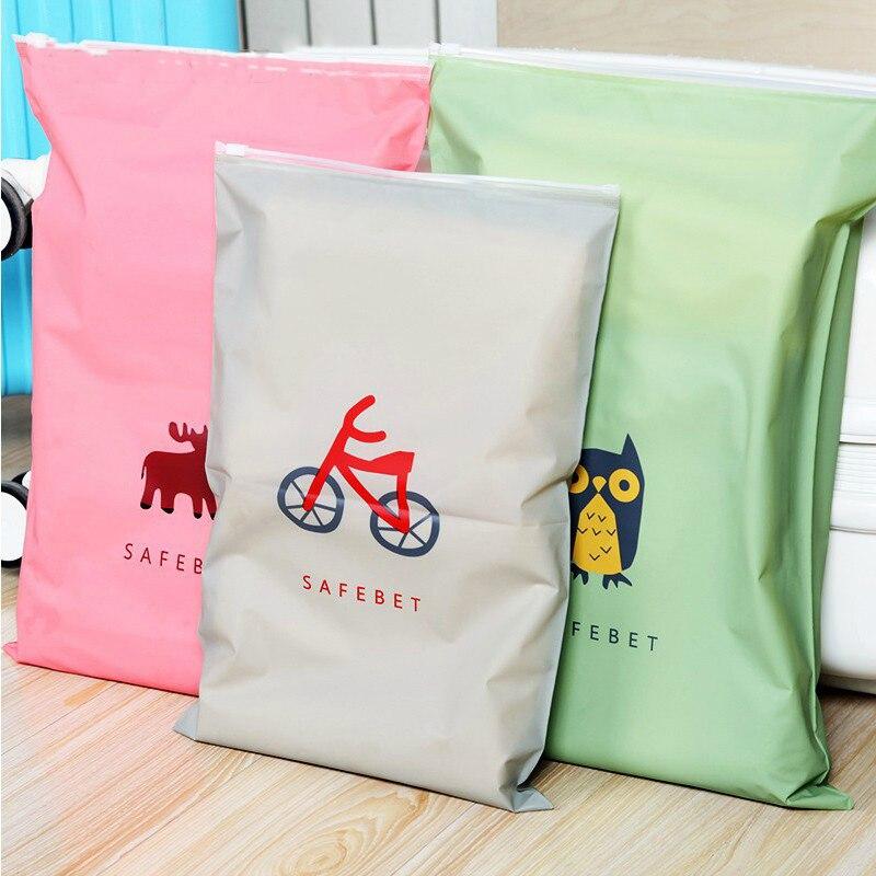 Waterproof Zipper Ziplock Bag Cartoon Cute Storage Box Border Foldable Organizer Bag Socks Bra Underwear Storage Bags