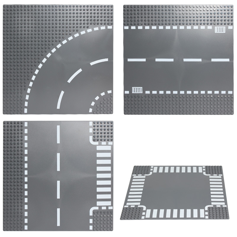 City Road Street Base Plate Straight Crossroad Curve T-Junction Building Blocks Technic Baseplate Parts Bricks Children Toys image