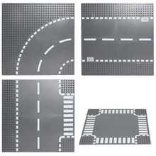 City Road Street Base Plate Straight Crossroad Curve T-Junction Building Blocks Compatible Legoed Technic Baseplate Parts Bricks(China)