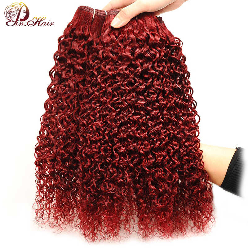 Pelo brasileño rojo 99J 4 paquetes de pelo humano rizado Borgoña paquetes de extensiones de tejido de pelo grueso Pinshair No Remy No enredo