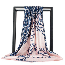 LEAYH Brand 90*90cm Fashion Square Scarves For Women Letters Print Satin Silk Scarf Female Shawls Bandana Large Hijabs