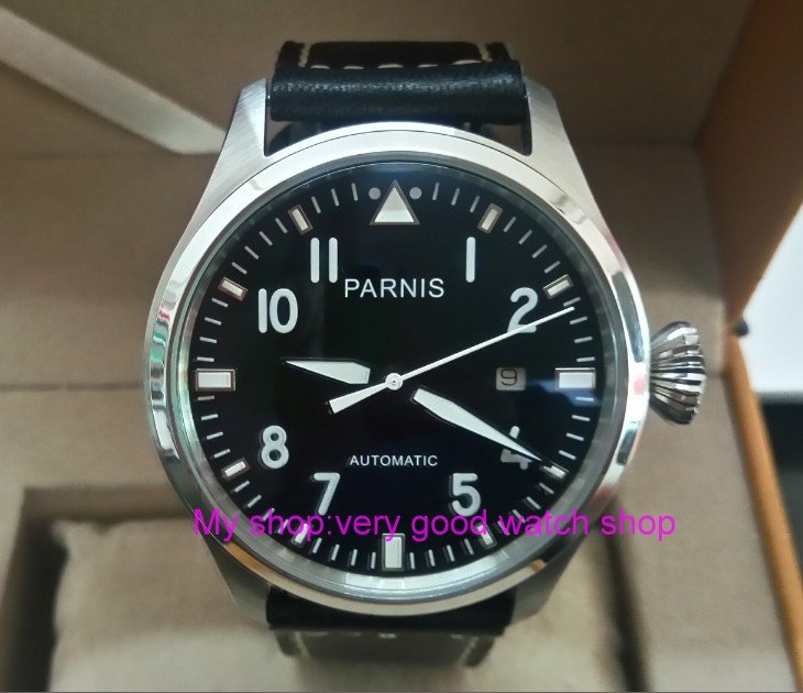 47mm big pilot PARNIS Black dial Automatic Self-Wind movement Auto Date men watches luminous Mechanical watches df129A