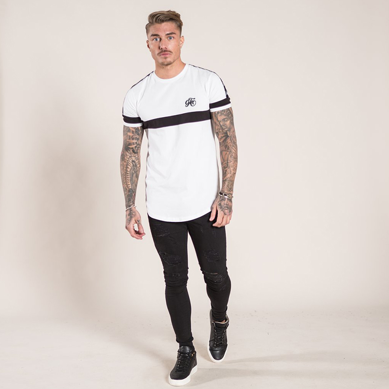 2a5eb85b195 Gingtto Men T shirt Signature Curve hem Chest Logo Pink White Tee Stretch  Designer Streetwear Cotton Spandex Shirt Man zm251-in T-Shirts from Men s  Clothing ...