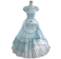 Victorian Lolita Southern Belle Evening Gothic Lolita Dress Baby Blue Princess Dress With Sweet Bowknot And Ruffles Decorated