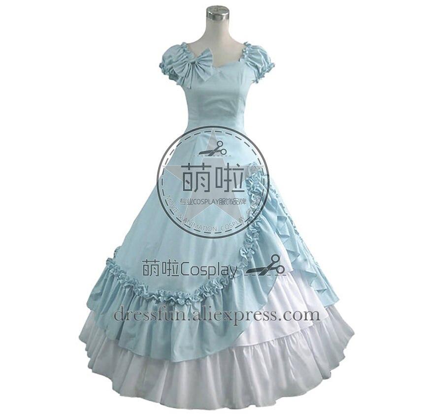 Victorienne Lolita sud Belle soirée gothique Lolita robe bébé bleu robe de princesse avec nœud papillon doux et volants décorés
