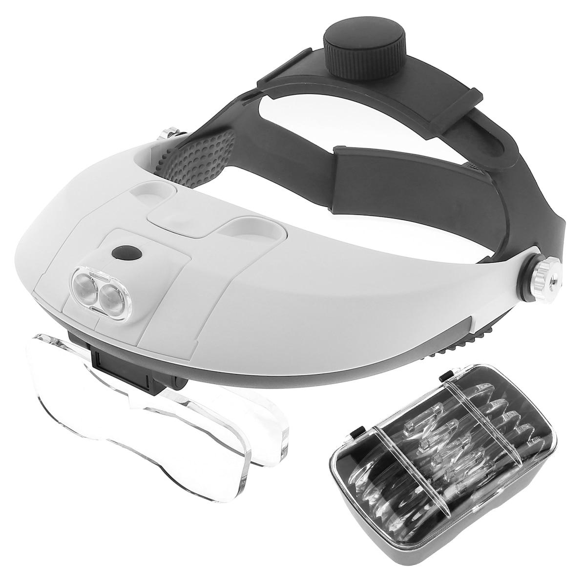 Einstellbare Stirnband 5 Objektiv Fernglas Lupe 2LED Schmuck Reparatur Lesen Lupe Third Hand Lupe PMMA Optische Linse