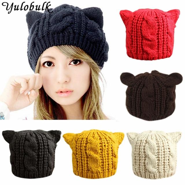 Fashion Girls Funny Knit Hats Women Cat Ears Beanies Winter Warm Cap Bonnet bad02cac5c6