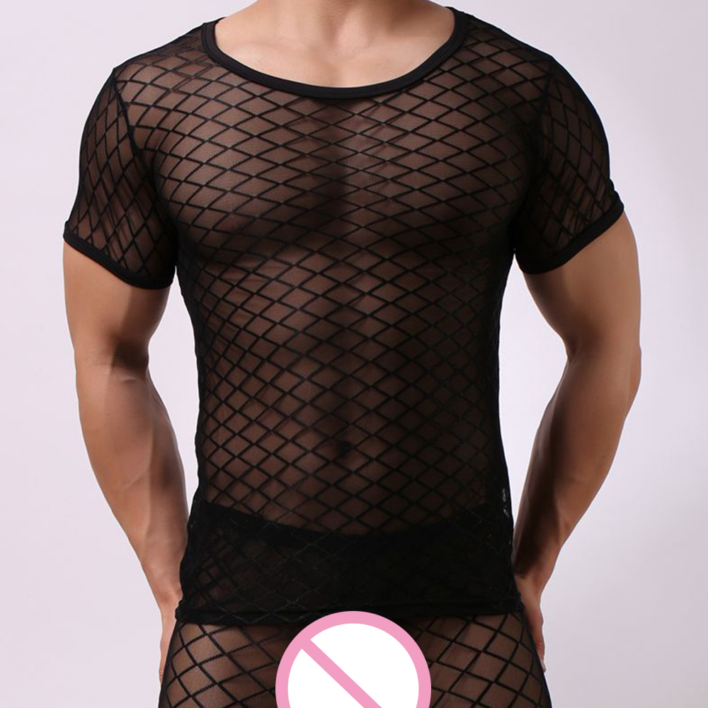 Summer Fashion Mens Sexy Grid Singlet Fishnet Transparent Mesh Man Exotic Fitness Undershirt Sleep Tops SleepWear