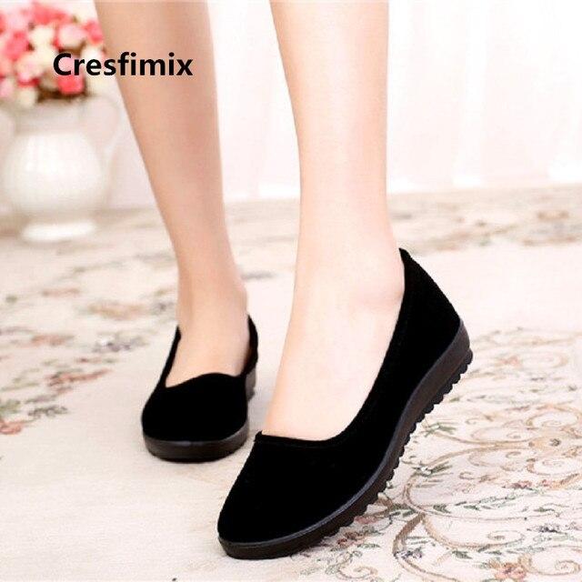 Cresfimix women fashion soft & comfortable slip on flat shoes zapatos de mujer lady cute casual black ballet dance shoes a3196