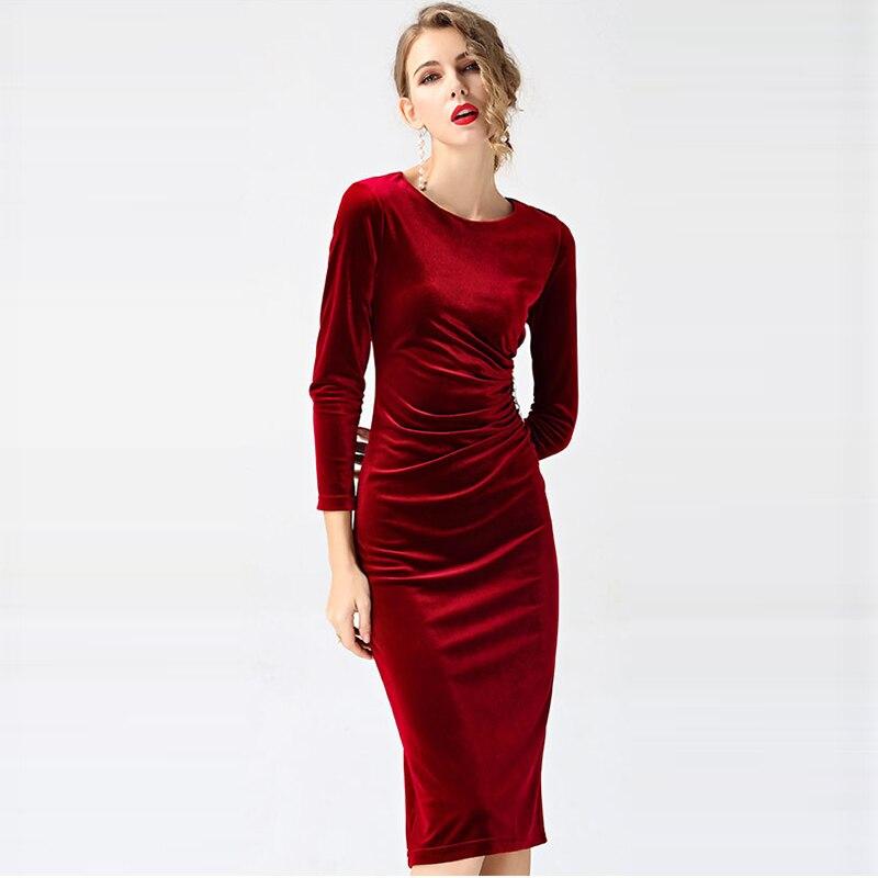 Модные женские элегантные вечерние платья золотые бархатные платья женские тонкие с круглым вырезом и длинным рукавом Плиссированные Черн